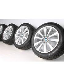 BMW Winterkompletträder 5er F10 F11 6er F06 F12 F13 V-Speiche 328 18 Zoll RDC silber